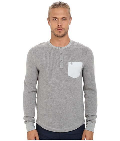 Imbracaminte Barbati Original Penguin Waffle Henley Rain Heather