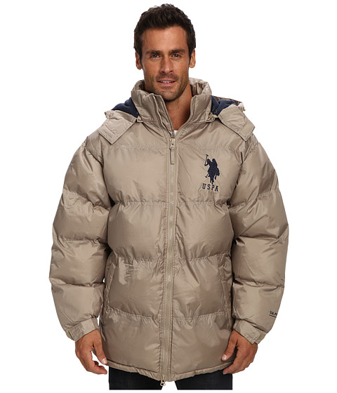 Imbracaminte Barbati US Polo Assn Signature Long Bubble Coat w Large Pony amp Polar Fleece Lining Thomston Khaki