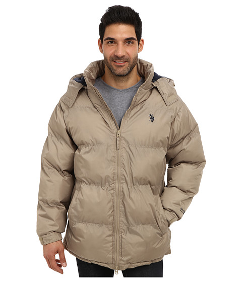 Imbracaminte Barbati US Polo Assn Signature Long Bubble Coat w Small Pony amp Polar Fleece Lining Thomston Khaki