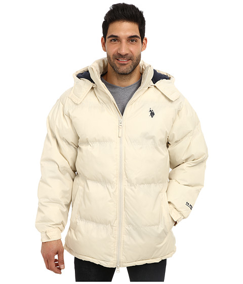 Imbracaminte Barbati US Polo Assn Signature Long Bubble Coat w Small Pony amp Polar Fleece Lining White Winter
