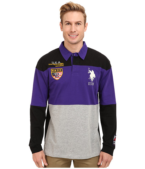 Imbracaminte Barbati US Polo Assn Jersey Color Block Rugby Polo Dark Violet