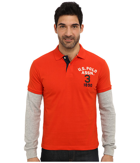 Imbracaminte Barbati US Polo Assn Long Sleeve Slim Fit Polo and Thermal Hang Down Harvest Orange