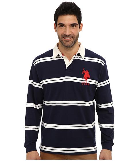 Imbracaminte Barbati US Polo Assn Striped Long Sleeve Jersey Polo w White Collar Classic Navy