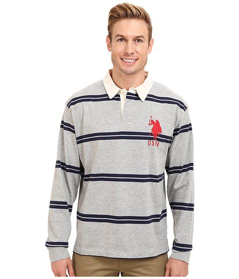 Imbracaminte Barbati US Polo Assn Striped Long Sleeve Jersey Polo w White Collar Heather Gray
