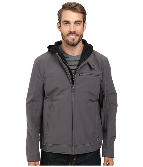 Imbracaminte Barbati Kenneth Cole Reaction Softshell Zip Front Jacket with Jersey Hood Concrete