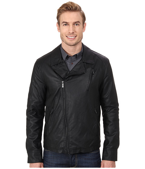 Imbracaminte Barbati Kenneth Cole Reaction Asymmetrical Zip Front Faux Leather Hipster Black