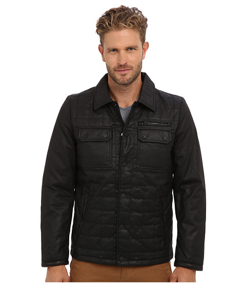 Imbracaminte Barbati Vince Camuto Carbon Coated Quilted Shirt Collar Jacket Black