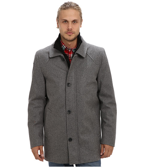 Imbracaminte Barbati Vince Camuto Melton Carcoat With Removable Quiled Nylon Bib amp Knit Collar Heather Grey