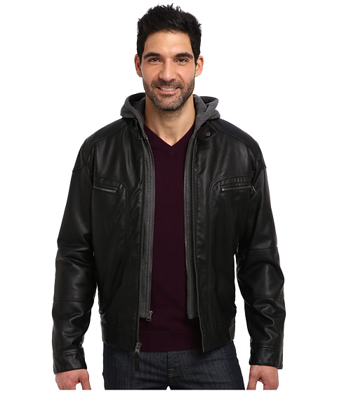 Imbracaminte Barbati Calvin Klein Faux Leather Bomber Jacket w Knit Hood CM499139 Black
