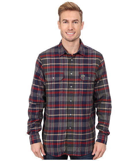 Imbracaminte Barbati Lacoste LS Plaid Flannel Woven Shirt Boreal BlueCamouflage KakiOxide Red