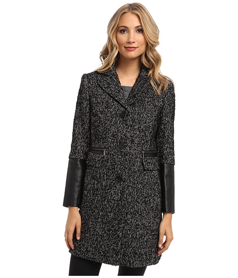 Imbracaminte Femei DKNY Tweed Reefer Coat 50855-Y4 BlackWhite