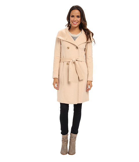 Imbracaminte Femei Calvin Klein Double Breasted Belted Convertible Stand Collar Wool Blend Coat CW287083 Palomino