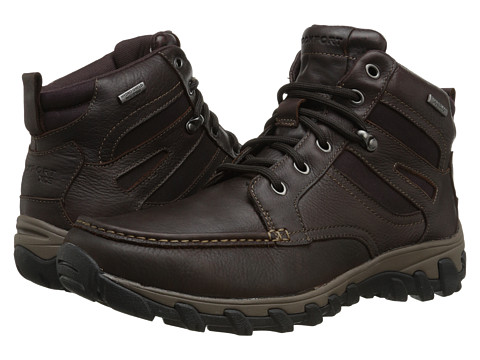 Incaltaminte Barbati Rockport Cold Springs Plus Mocc Toe Boot - High 7 Eyelets Dark Brown Tumbled Leather