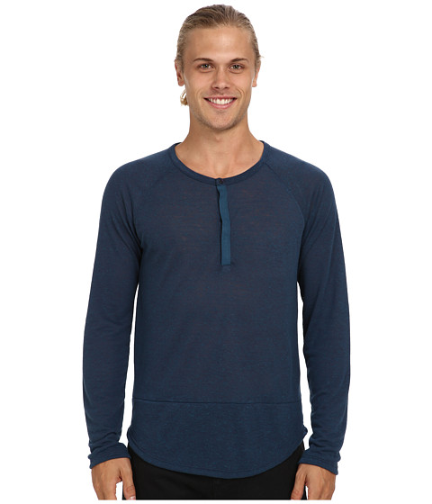 Imbracaminte Barbati Alternative Apparel Shirttail Henley LS Eco Splash Midnight