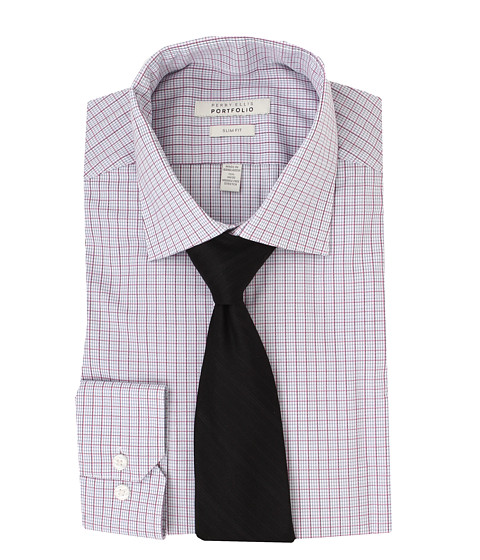 Imbracaminte Barbati Perry Ellis Slim Fit Wrinkle Free Plaid LS Dress Shirt Pink Multi