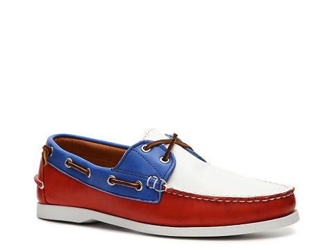 Incaltaminte Barbati Ralph Lauren Collection Telford II Leather Color Block Boat Shoe RedWhiteBlue