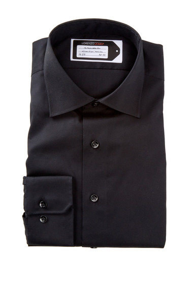 Imbracaminte Barbati Lorenzo Uomo Long Sleeve Trim Fit No Iron Perfect Dress Shirt Black