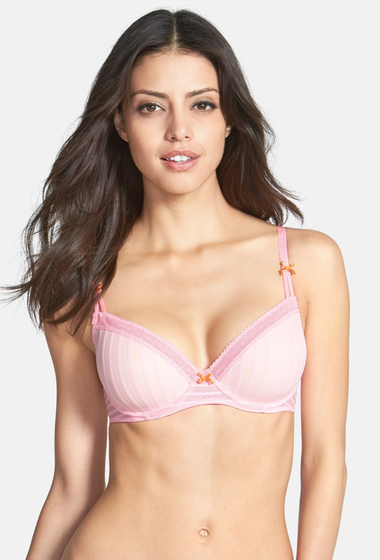Imbracaminte Femei Betsey Johnson Stocking Stripe Underwire T-Shirt Bra LOVER PINK