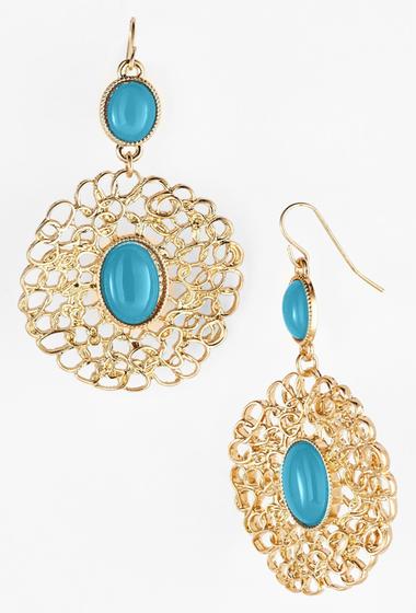 Bijuterii Femei Natasha Accessories Medallion Drop Earrings TURQUOISE GOLD