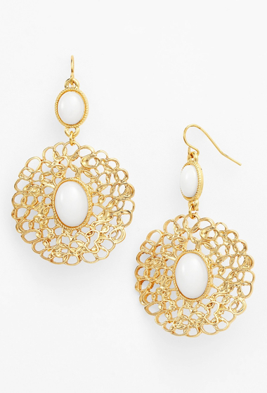 Bijuterii Femei Natasha Accessories Medallion Drop Earrings WHITE GOLD