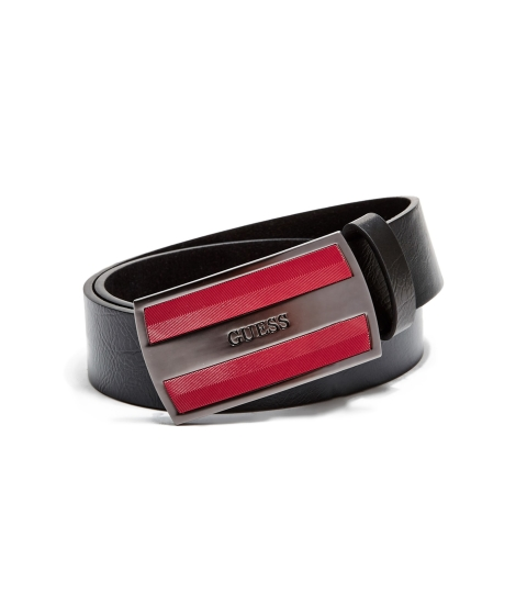 Accesorii Barbati GUESS Chevron-Textured Plaque Belt red