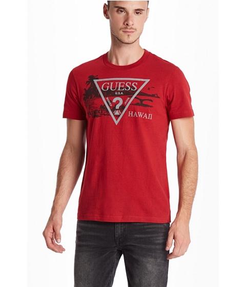 Imbracaminte Barbati GUESS Hawaii Logo Crew Tee havana red