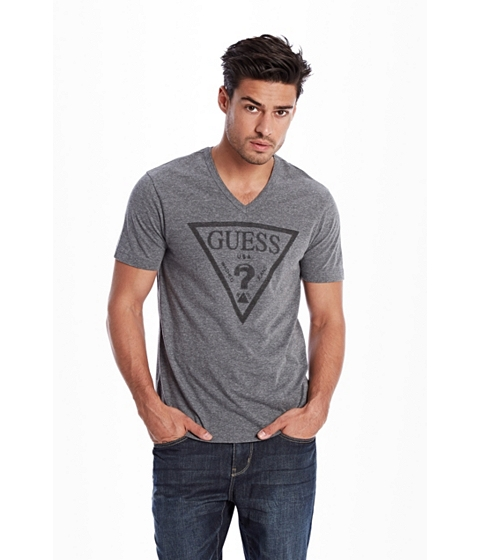 Imbracaminte Femei GUESS Bordeaux Logo V-Neck Tee medium charcoal heather