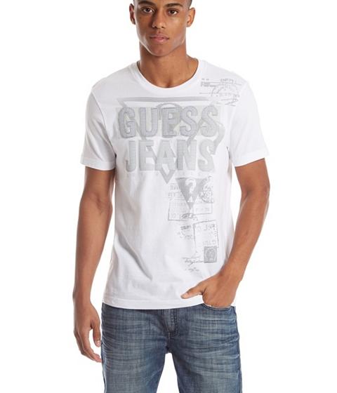 Imbracaminte Barbati GUESS Everett Logo Crewneck Tee true white