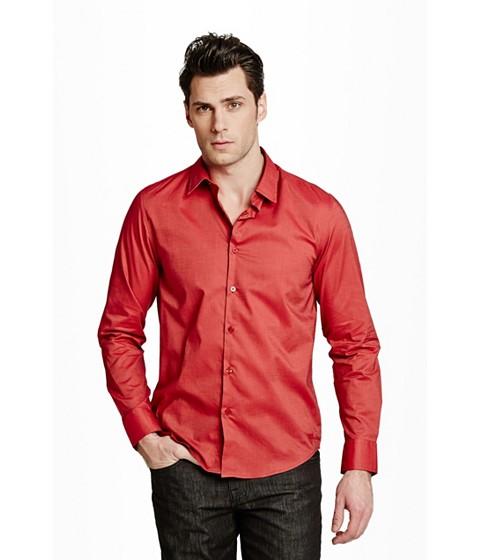 Imbracaminte Barbati GUESS Ezra Solid Shirt red hot