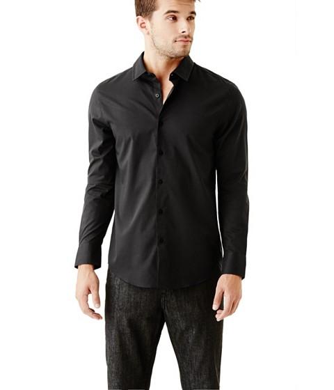Imbracaminte Barbati GUESS Ezra Solid Shirt jet black