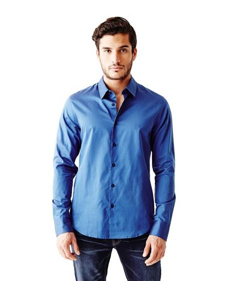 Imbracaminte Barbati GUESS Ezra Solid Shirt cosmic blue