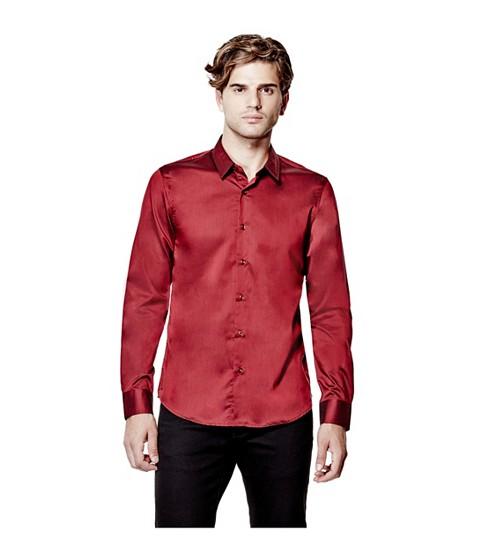 Imbracaminte Barbati GUESS Ezra Solid Shirt havana red