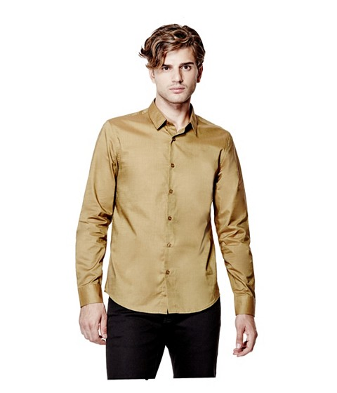 Imbracaminte Barbati GUESS Ezra Solid Shirt hazelnut