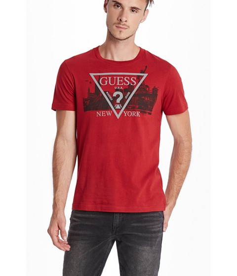Imbracaminte Barbati GUESS New York Logo Crew Tee havana red