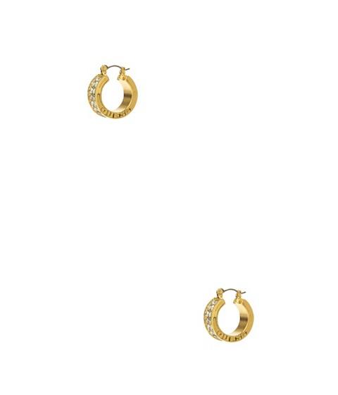 Bijuterii Femei GUESS Gold-Tone Rhinestone Logo Hoop Earrings no color