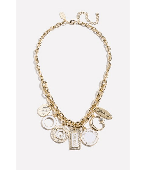 Bijuterii Femei GUESS Gold-Tone Enamel Charm Necklace gold