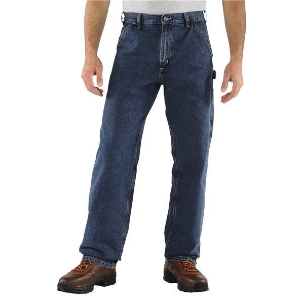 Imbracaminte Barbati Carhartt Work Pants - Washed Denim HERITAGE DARK (02)