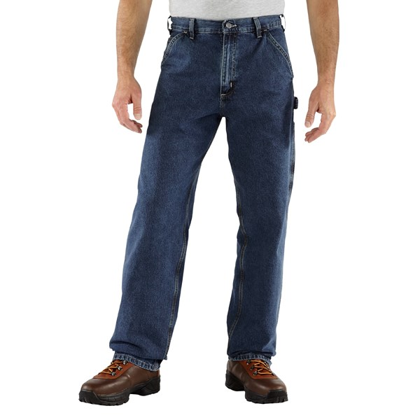 Imbracaminte Barbati Carhartt Work Pants - Washed Denim DEEP STONEWASH (01)