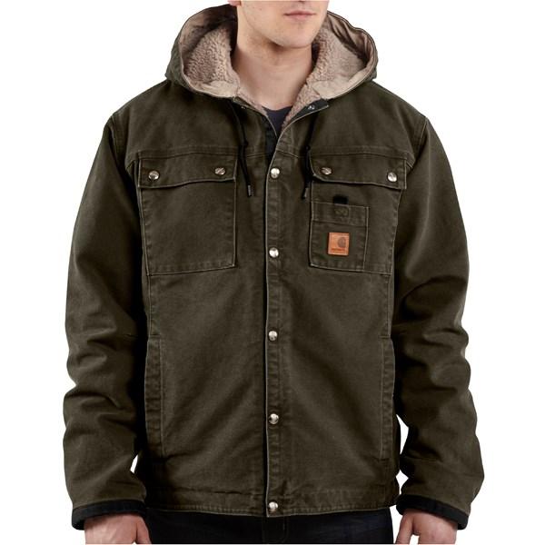 Imbracaminte Barbati Carhartt Sandstone Hooded Multi-Pocket Jacket - Sherpa Lined MOSS (02)