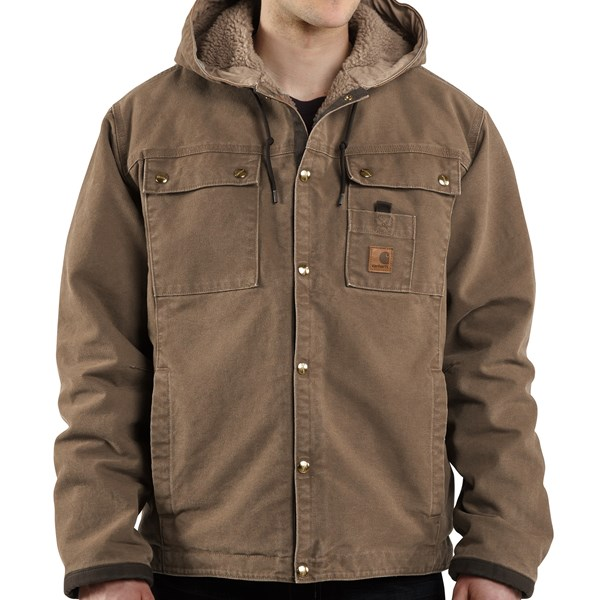 Imbracaminte Barbati Carhartt Sandstone Hooded Multi-Pocket Jacket - Sherpa Lined LIGHT BROWN (10)