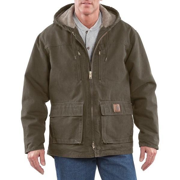 Imbracaminte Barbati Carhartt Sandstone Jackson Coat - Sherpa Lined ARMY GREEN (03)