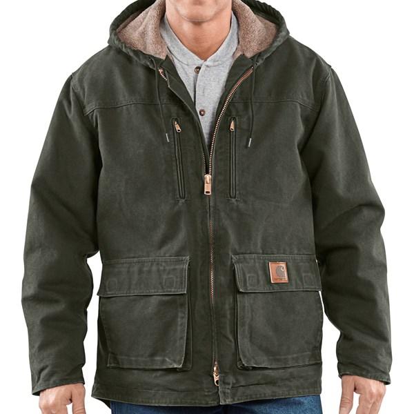 Imbracaminte Barbati Carhartt Sandstone Jackson Coat - Sherpa Lined MOSS (11)