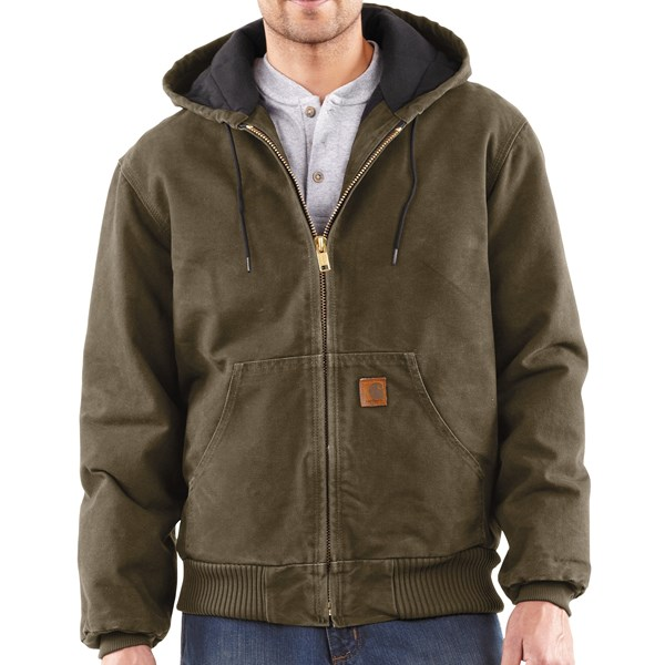 Imbracaminte Barbati Carhartt Sandstone Active Jacket - Washed Duck ARMY GREEN (10)