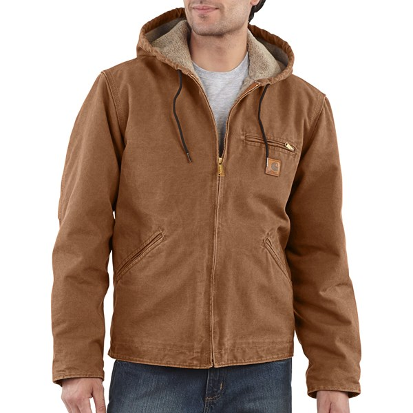 Imbracaminte Barbati Carhartt Sandstone Sierra Jacket - Sherpa Pile Lining (For Tall Men) CARHARTT BROWN (04)