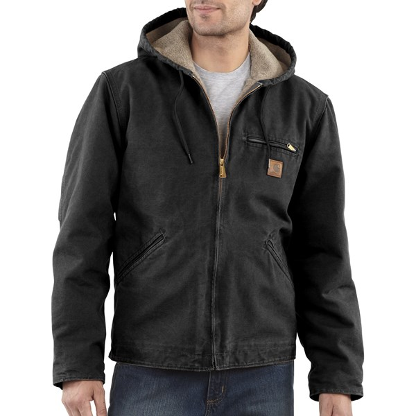 Imbracaminte Barbati Carhartt Sandstone Sierra Jacket - Sherpa Pile Lining (For Tall Men) BLACK (27)