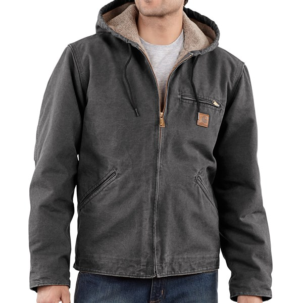 Imbracaminte Barbati Carhartt Sandstone Sierra Jacket - Sherpa Pile Lining (For Tall Men) GRAVEL (09)