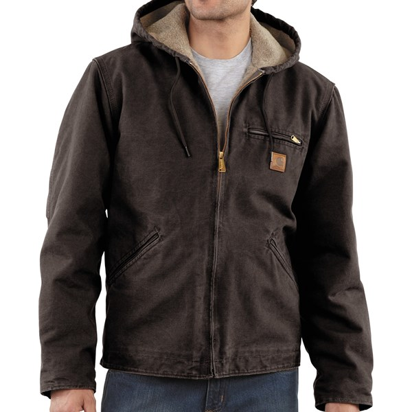 Imbracaminte Barbati Carhartt Sandstone Sierra Jacket - Sherpa Pile Lining (For Tall Men) DARK BROWN (40)