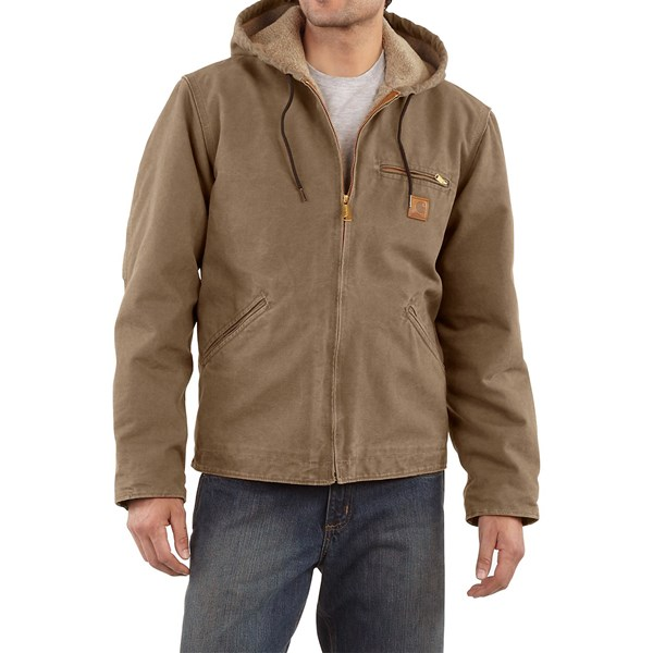 Imbracaminte Barbati Carhartt Sandstone Sierra Jacket - Sherpa Pile Lining (For Tall Men) LIGHT BROWN (13)