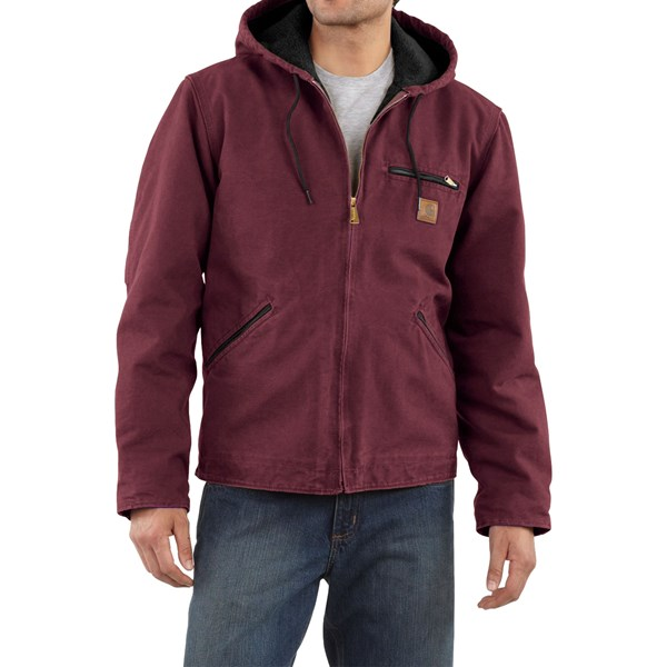 Imbracaminte Barbati Carhartt Sandstone Sierra Jacket - Sherpa Pile Lining (For Tall Men) PORT (15)
