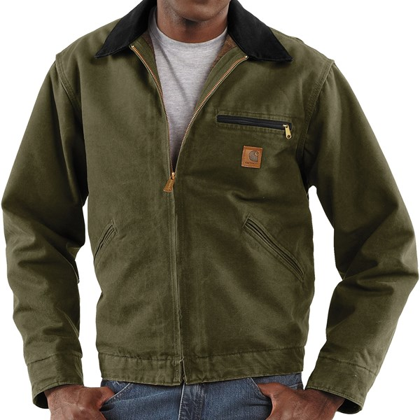 Imbracaminte Barbati Carhartt Detroit Jacket - Sandstone Blanket-Lined ARMY GREEN (08)